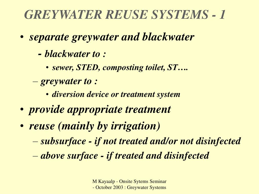 GREYWATER REUSE SYSTEMS - 1