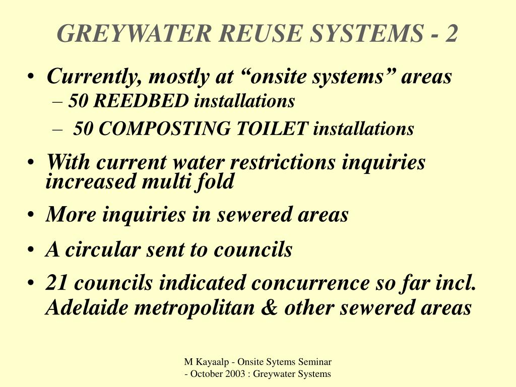 GREYWATER REUSE SYSTEMS - 2