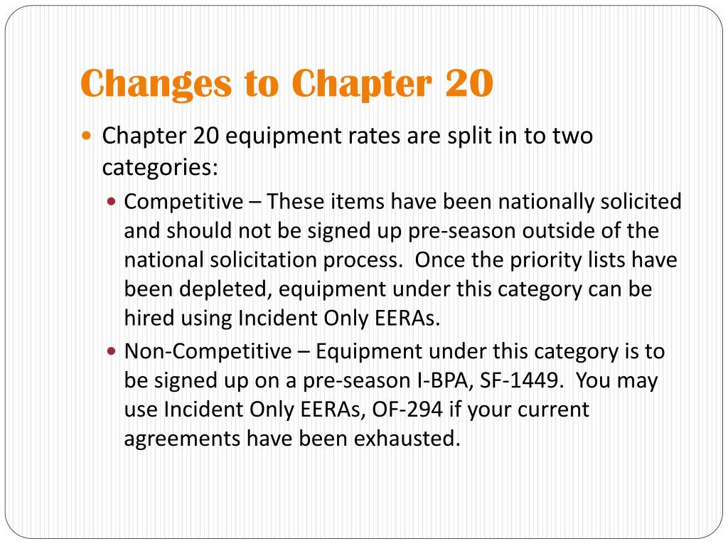 Changes to Chapter 20