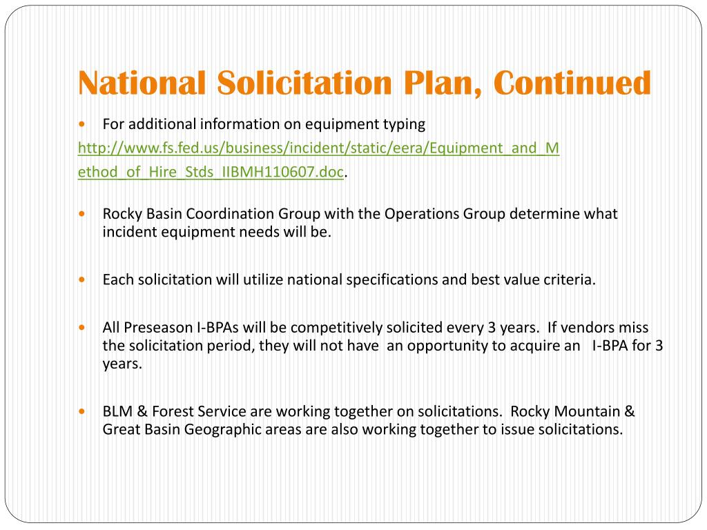 National Solicitation Plan, Continued