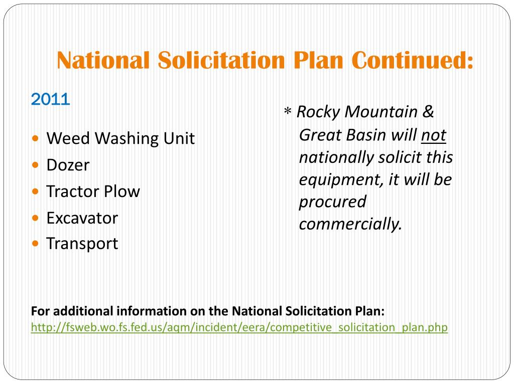 National Solicitation Plan Continued: