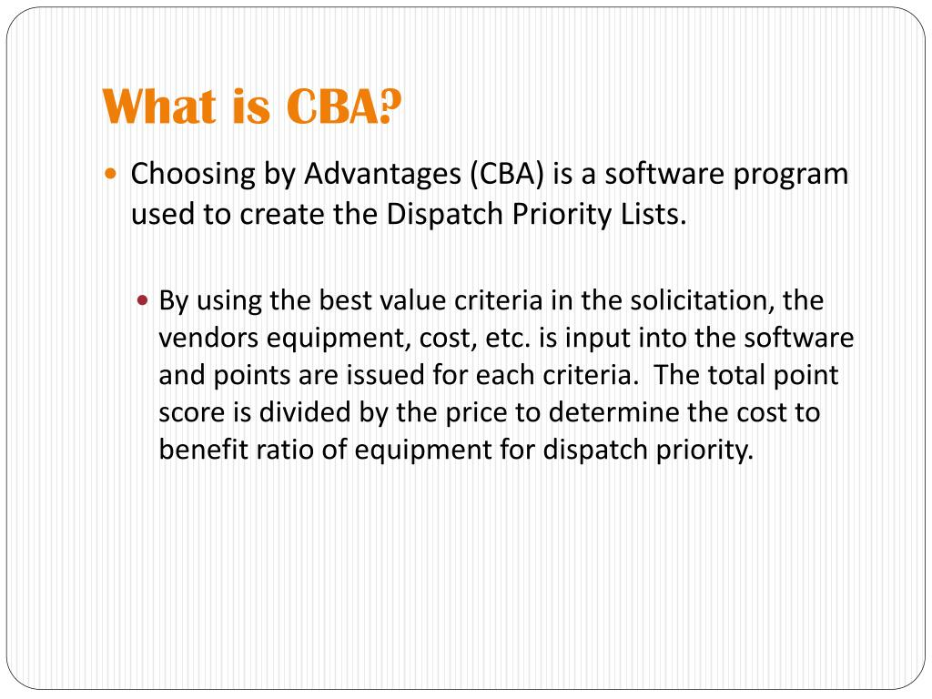 What is CBA?