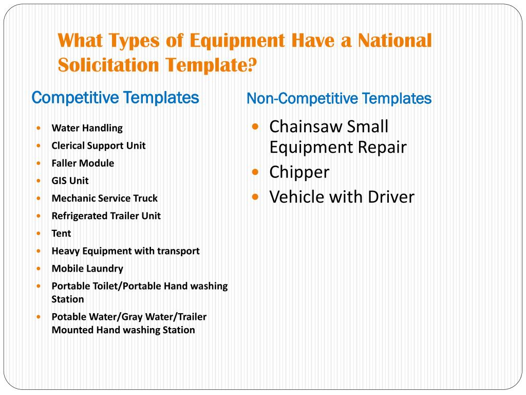 What Types of Equipment Have a National Solicitation Template?