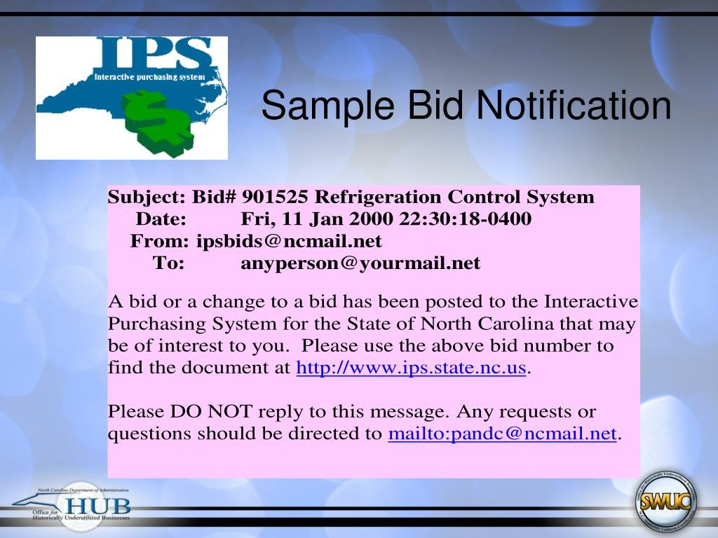 Sample Bid Notification