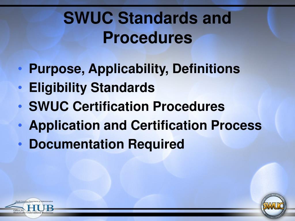 SWUC Standards and Procedures