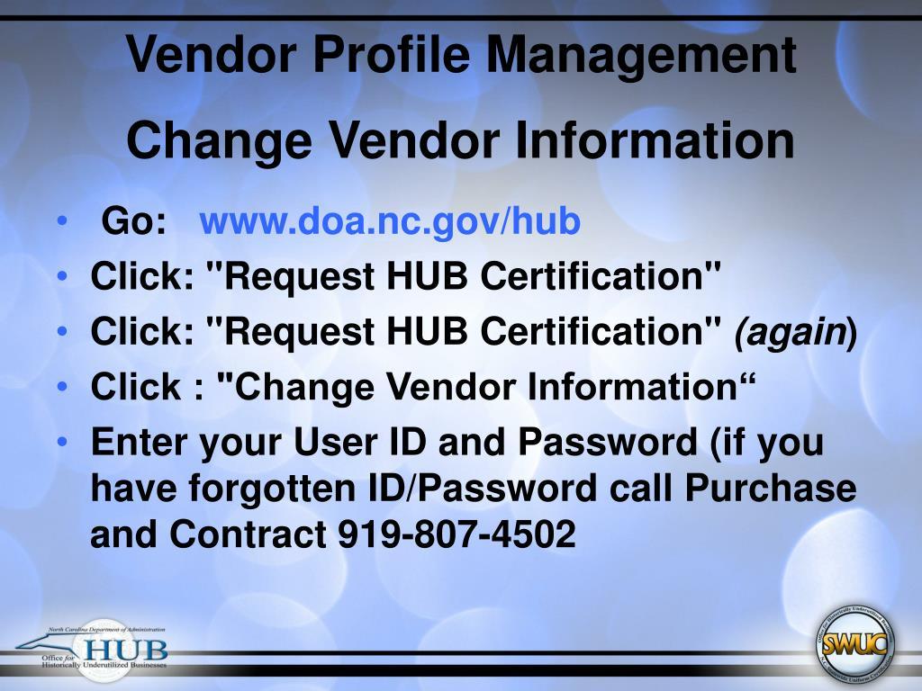 Vendor Profile Management