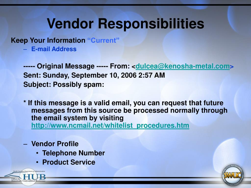 Vendor Responsibilities