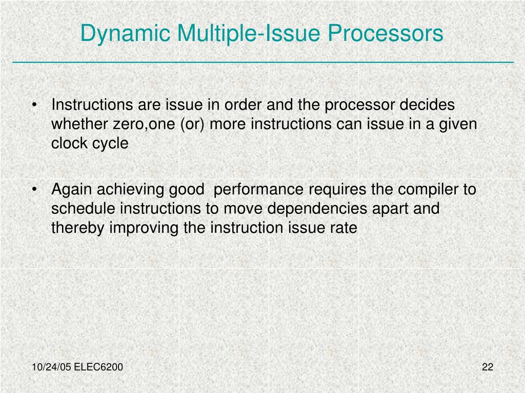 Dynamic Multiple-Issue Processors