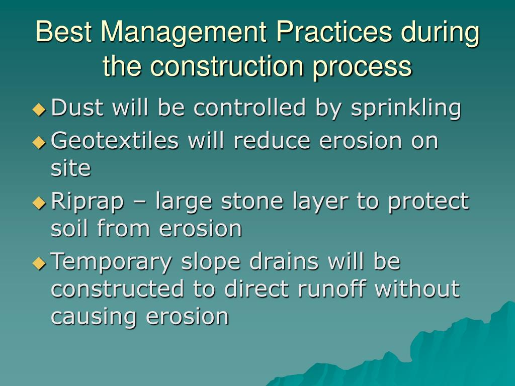 Best Management Practices during the construction process