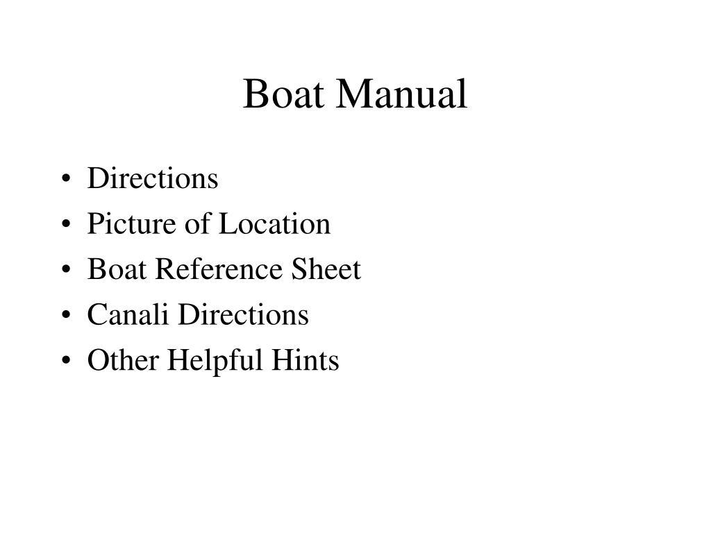 Boat Manual