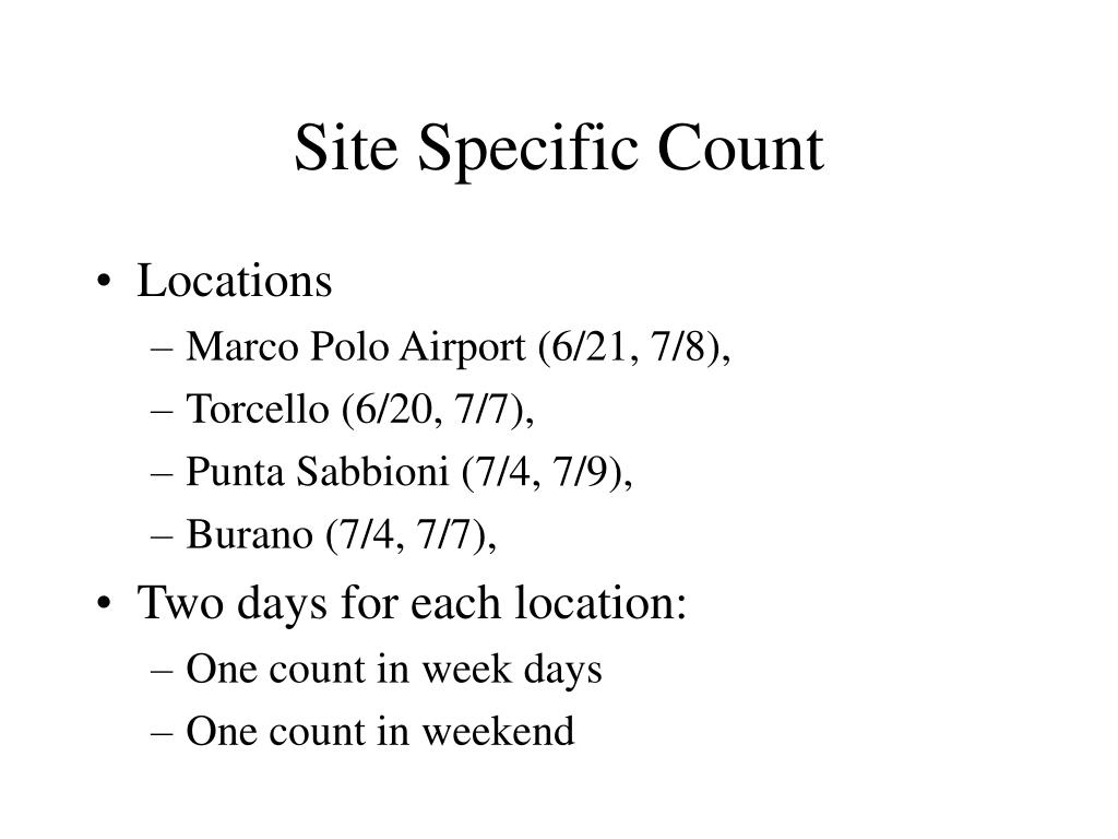 Site Specific Count