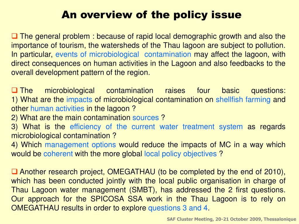 An overview of the policy issue