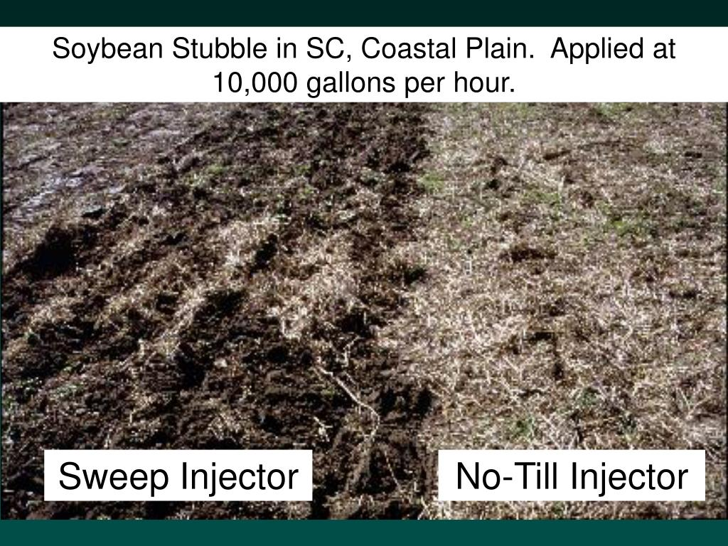 Soybean Stubble in SC, Coastal Plain.  Applied at 10,000 gallons per hour.