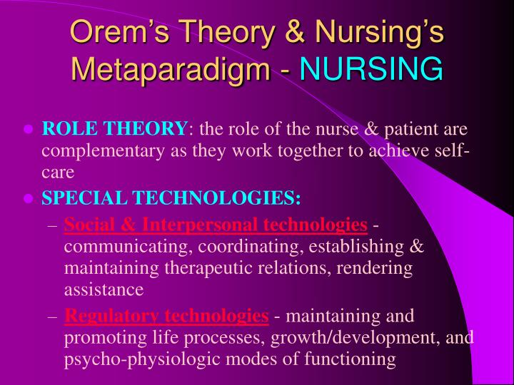 orem s nursing process Orems theory according to the nursing process would be considered as a method from nr501 501 at chamberlain college of nursing.
