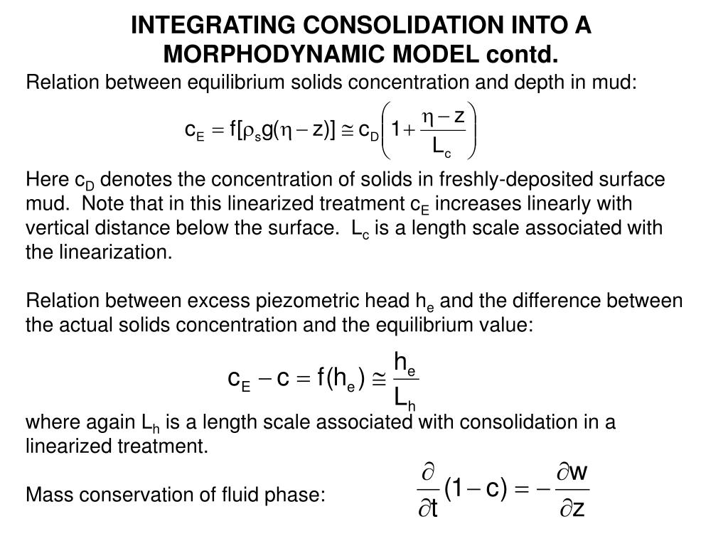 INTEGRATING CONSOLIDATION INTO A MORPHODYNAMIC MODEL contd.