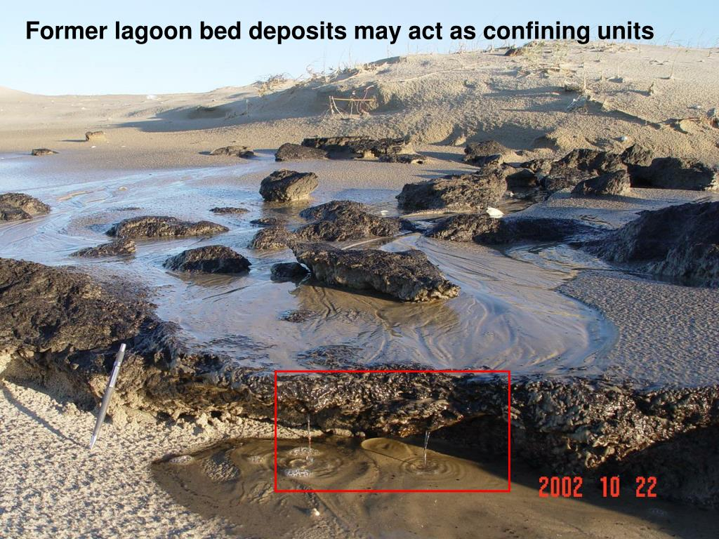 Former lagoon bed deposits may act as confining units