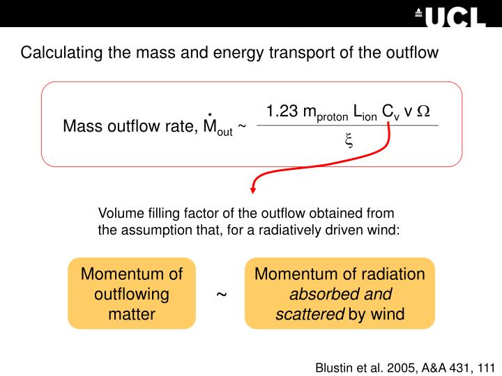 Momentum of outflowing matter