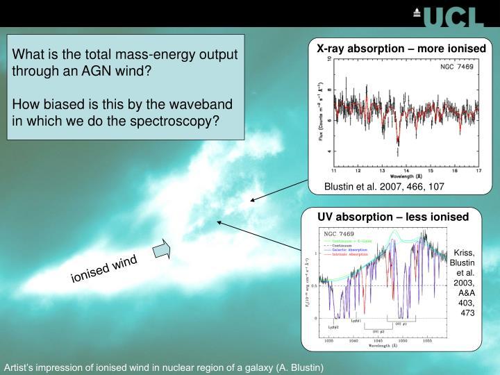 UV absorption – less ionised