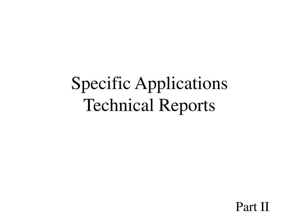 Specific Applications