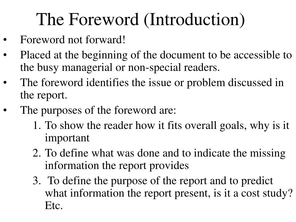 The Foreword (Introduction)