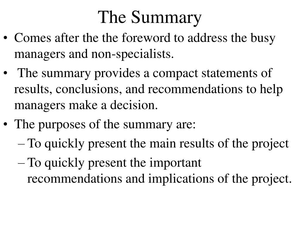 The Summary