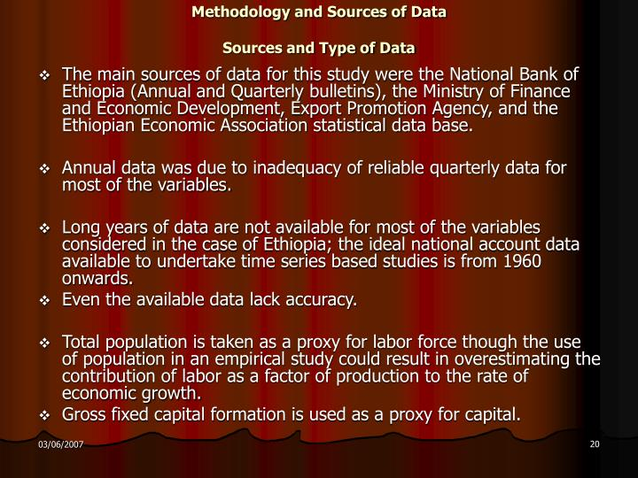 Methodology and Sources of Data