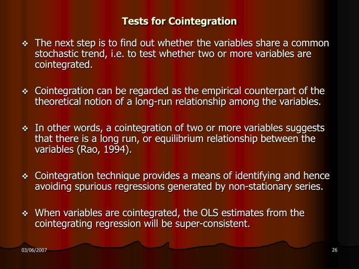 Tests for Cointegration