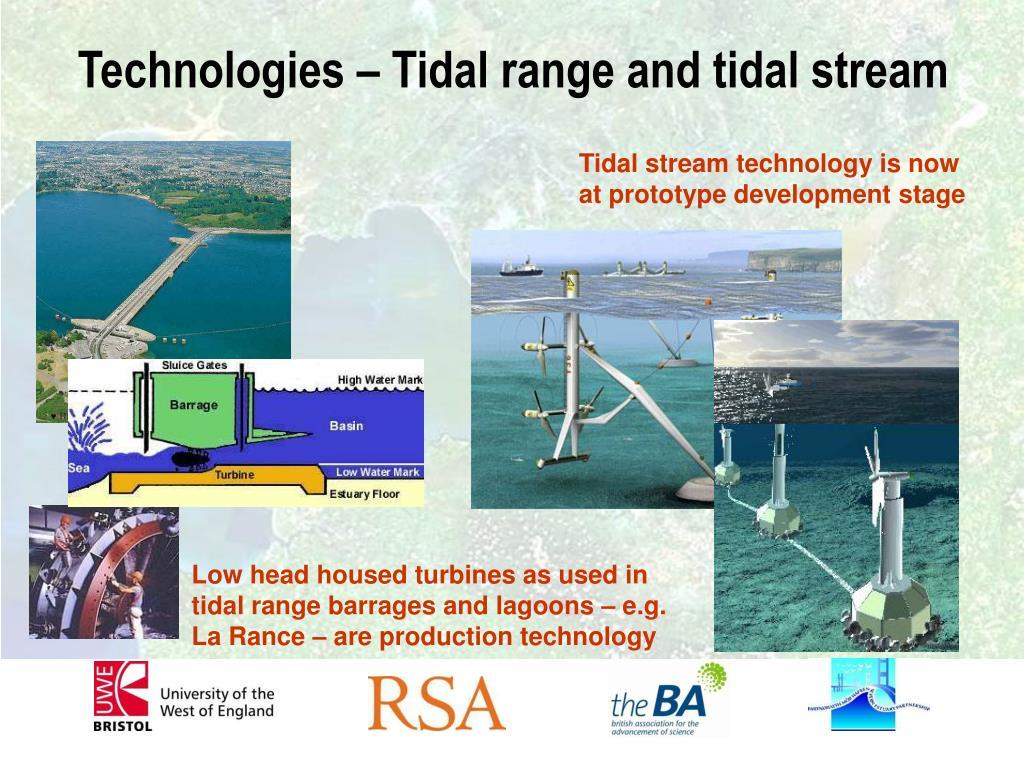Technologies – Tidal range and tidal stream