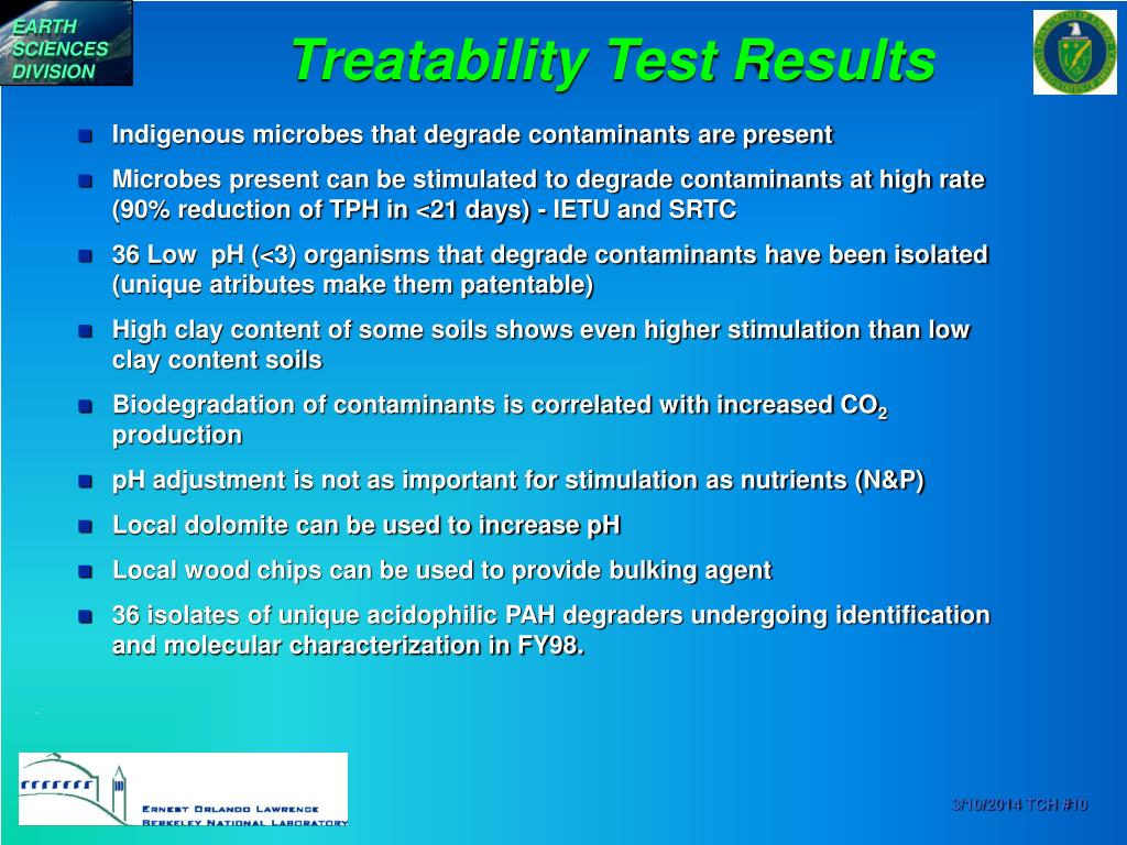 Treatability Test Results