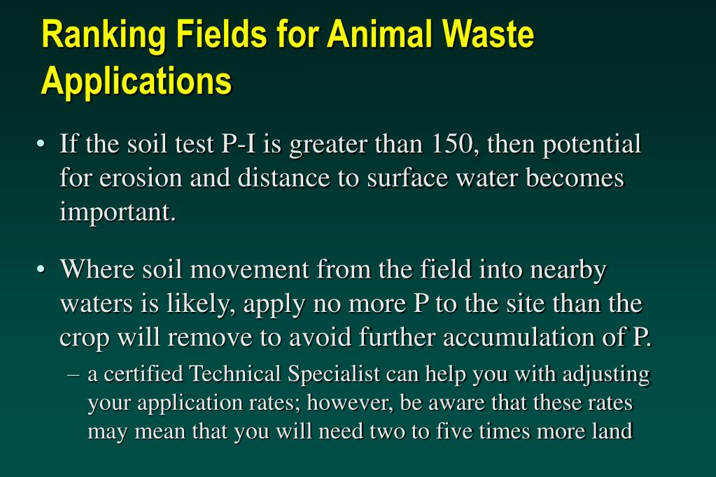 Ranking Fields for Animal Waste Applications