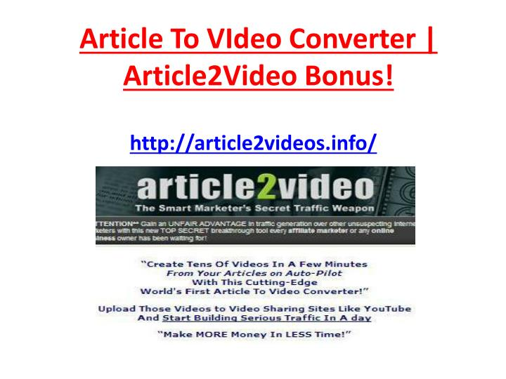Article to video converter article2video bonus