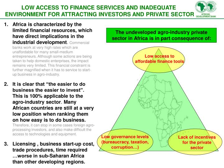 The undeveloped agro-industry private sector in Africa is in part consequence of: