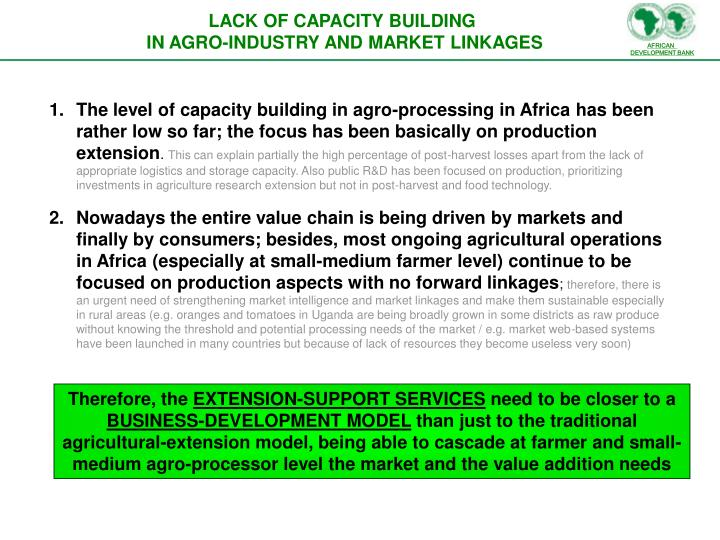LACK OF CAPACITY BUILDING