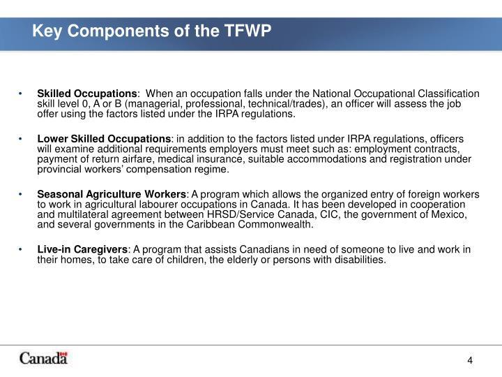 Key Components of the TFWP