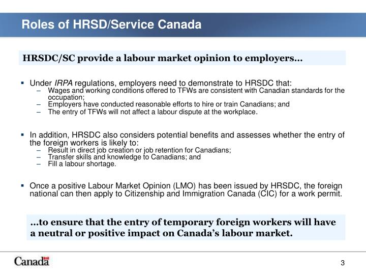 Roles of HRSD/Service Canada