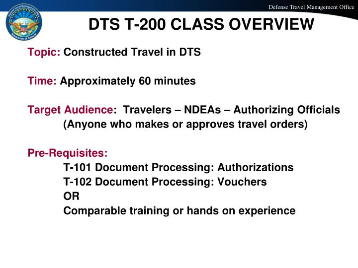 PPT T200 CONSTRUCTED TRAVEL IN DTS PowerPoint Presentation ID – Dts Cost Comparison Worksheet
