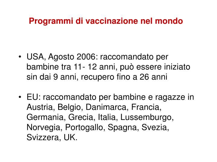 Programmi di vaccinazione nel mondo