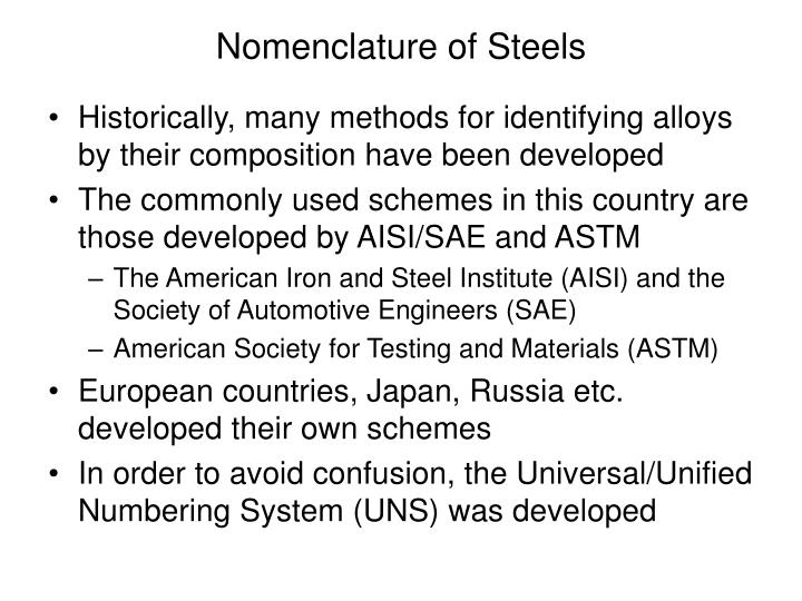 Nomenclature of Steels