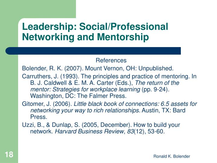 Leadership: Social/Professional Networking and Mentorship