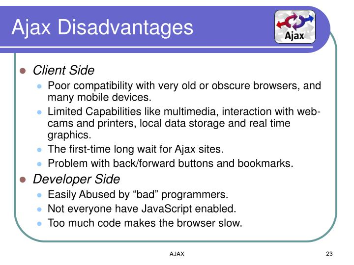 Ajax Disadvantages