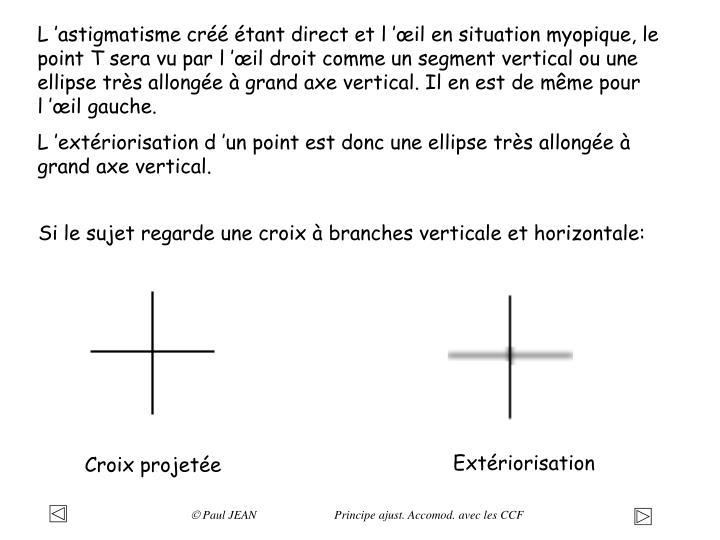 Si le sujet regarde une croix à branches verticale et horizontale: