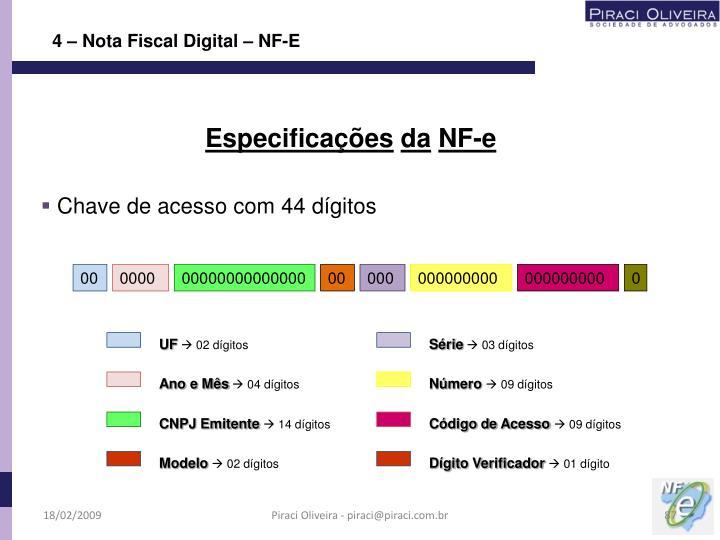 4 – Nota Fiscal Digital – NF-E