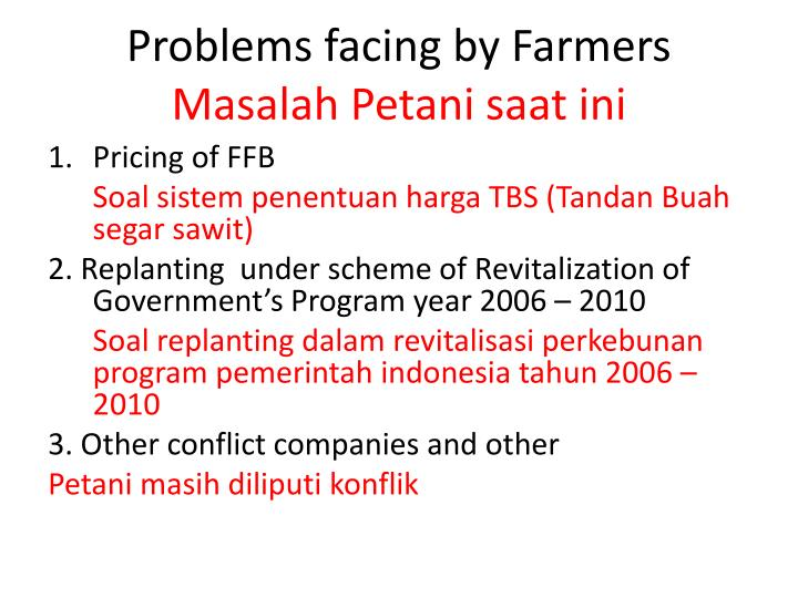 Problems facing by farmers masalah petani saat ini