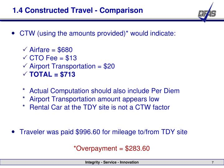 Dts Constructed Travel Comparison Worksheet - Rringband