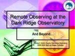 remote observing at the dark ridge observatory