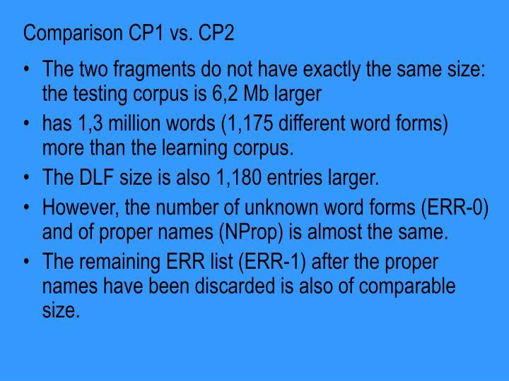 Comparison CP1 vs. CP2