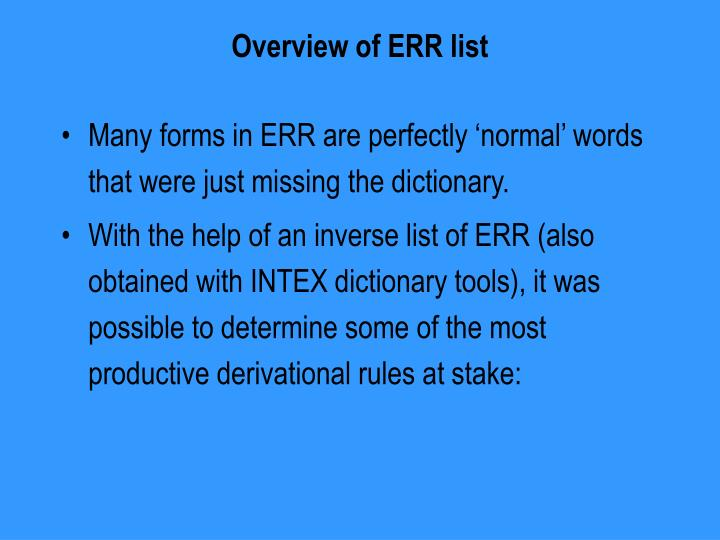 Overview of ERR list
