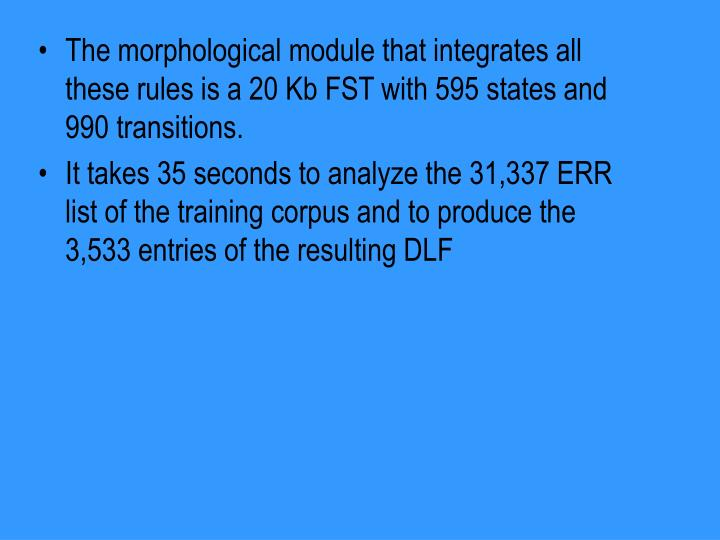 The morphological module that integrates all these rules is a 20 Kb FST with 595 states and 990 transitions.
