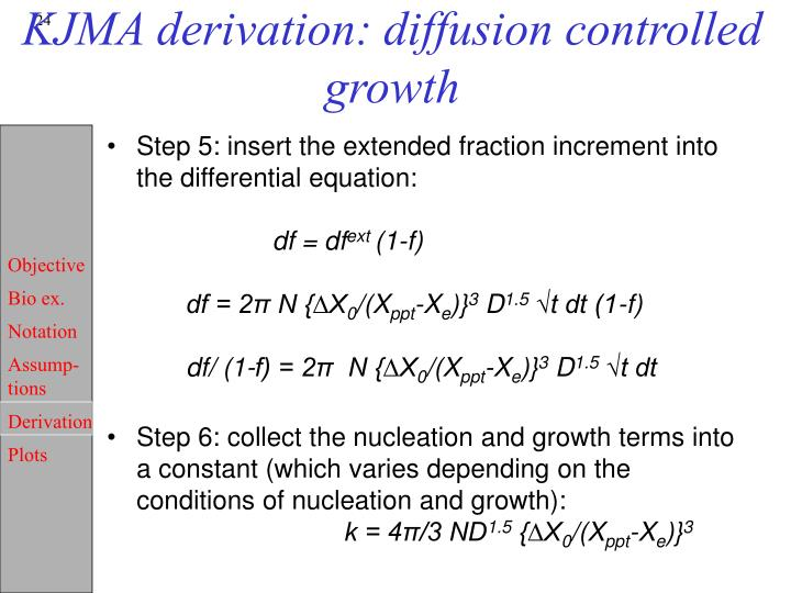 KJMA derivation: diffusion controlled growth