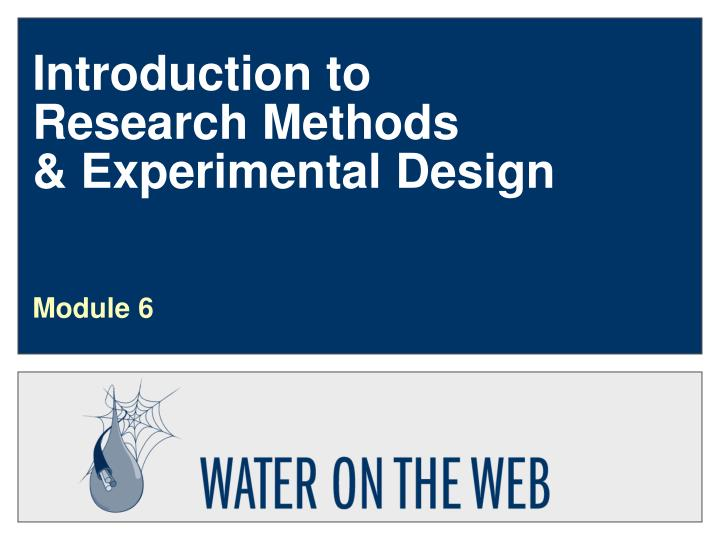 introduction to research methods experimental design